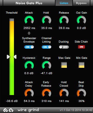 Noise Gate Plus user interface